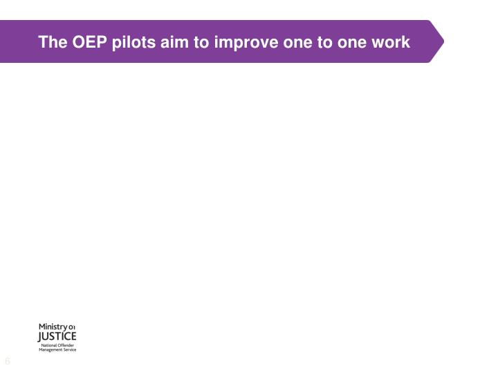 The OEP pilots aim to improve one to one work