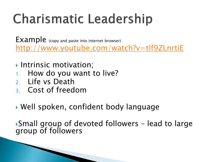 negative characteristics of charismatic leadership But what is charismatic leadership about in this guide, we'll explore the theories that gave birth to this leadership style from weber to house we'll also look at the core elements of charismatic leadership theory and analyze the characteristics leaders need to possess in order to be.