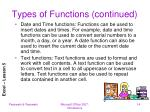 types of functions continued2