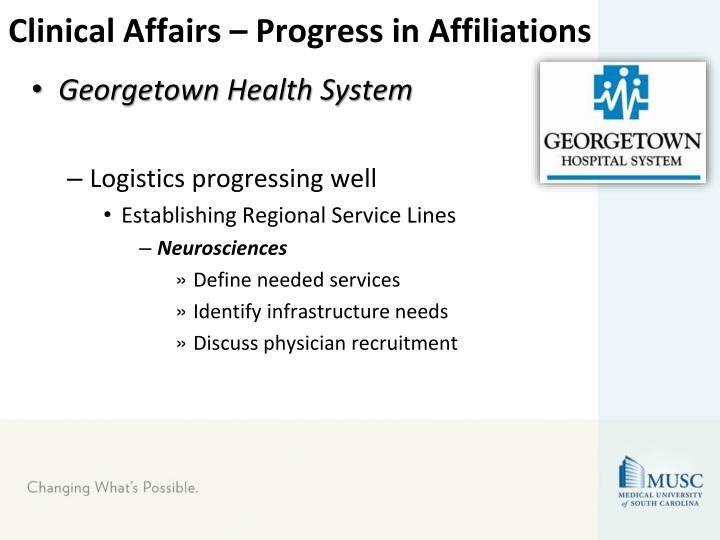 Clinical Affairs – Progress in Affiliations