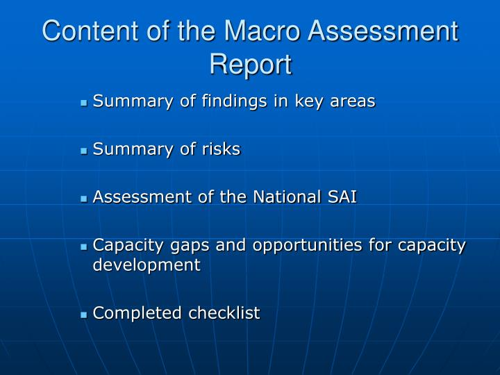 Content of the Macro Assessment Report