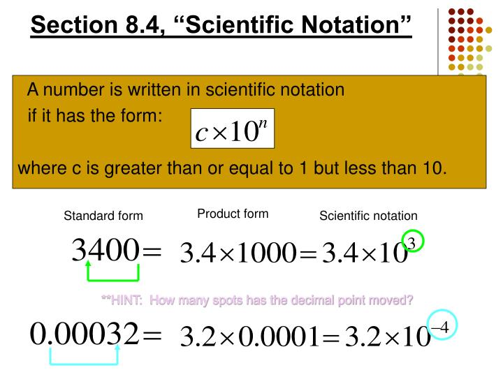 "Section 8.4, ""Scientific Notation"""
