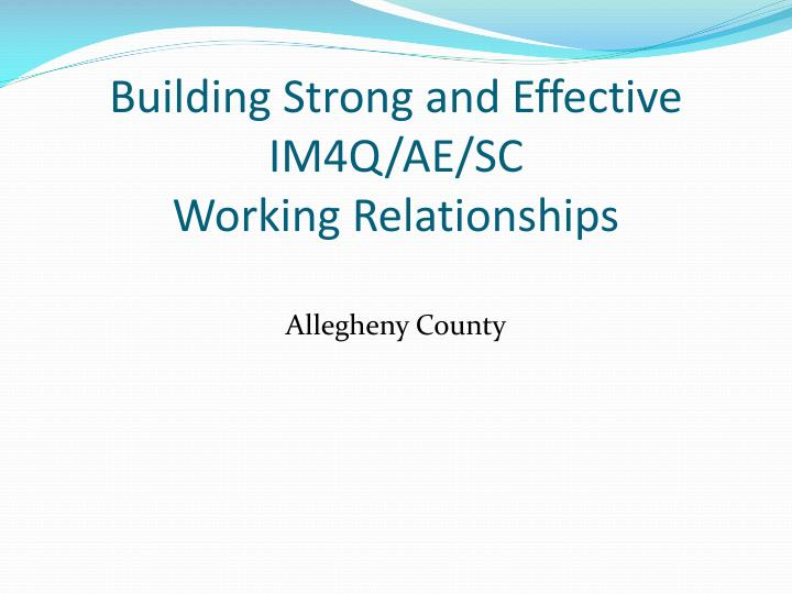 Building strong and effective im4q ae sc working relationships
