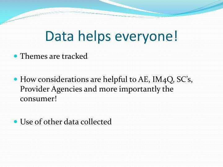 Data helps everyone!