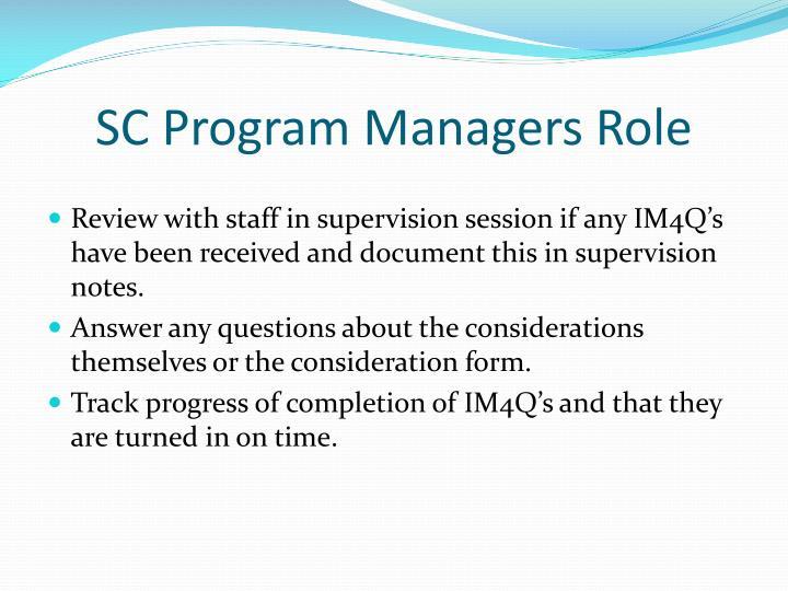 SC Program Managers Role