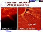 2011 june 17 sdo aia jet lasco c2 coronal flow