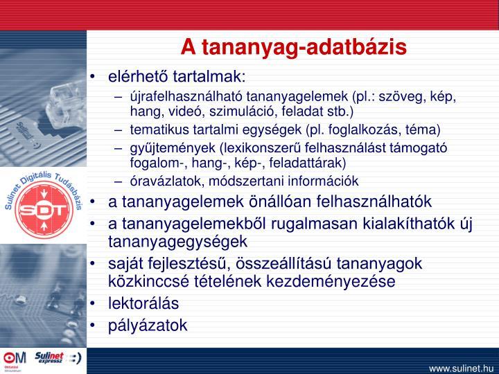 A tananyag-adatbázis