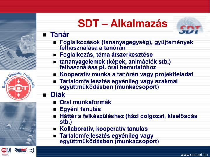 SDT – Alkalmazás