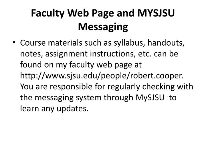 Faculty web page and mysjsu messaging