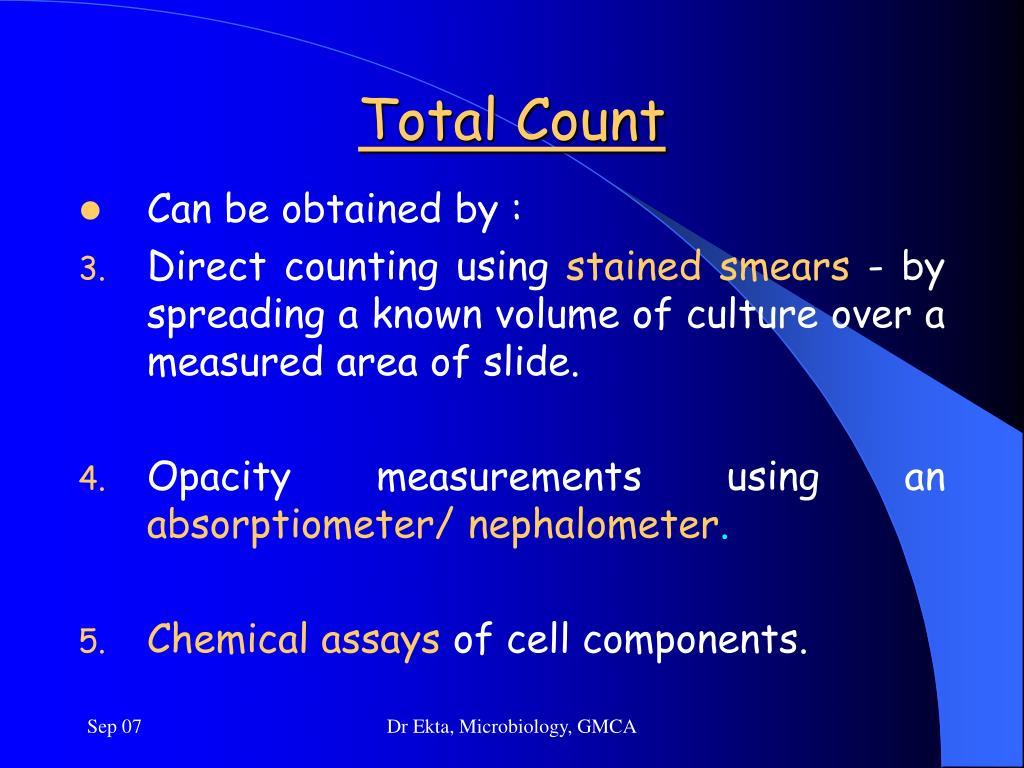Total bacterial count method ppt presentation