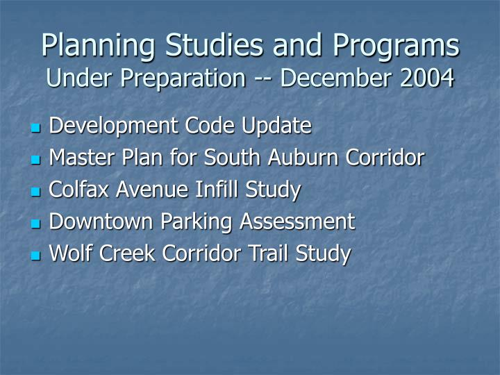 Planning Studies and Programs