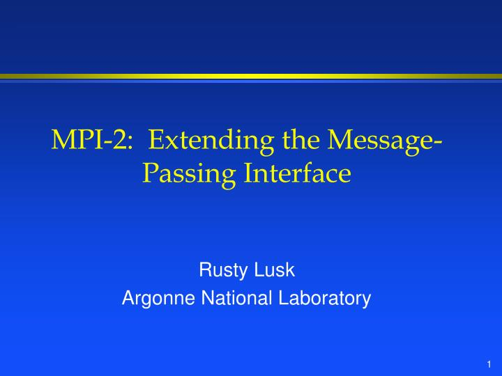 mpi 2 extending the message passing interface n.