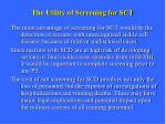 the utility of screening for sct1