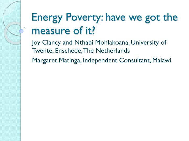 energy poverty have we got the measure of it n.