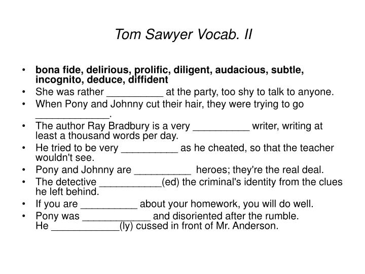 Tom Sawyer Vocab. II