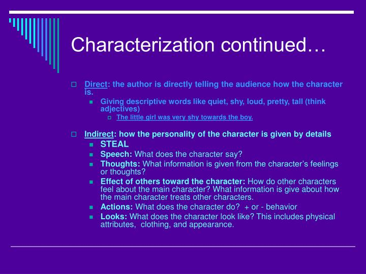 Characterization continued…