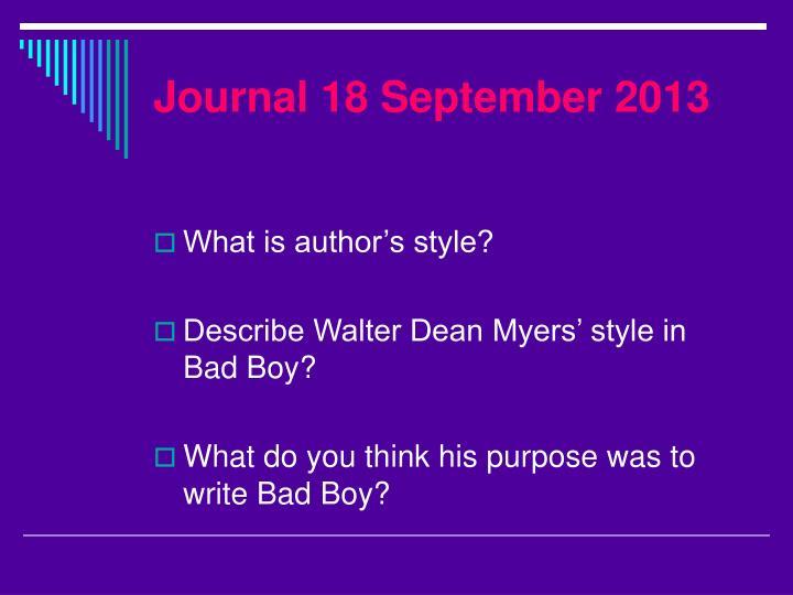 Journal 18 September 2013
