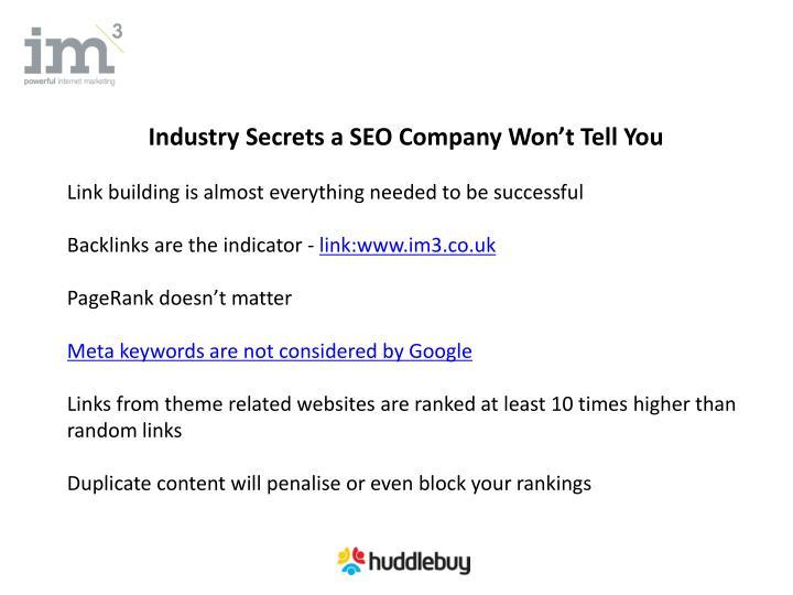 Industry Secrets a SEO Company Won