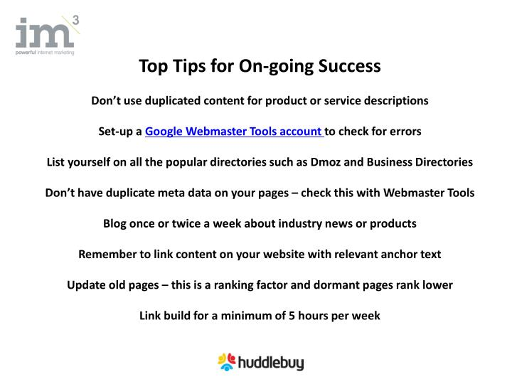 Top Tips for On-going Success