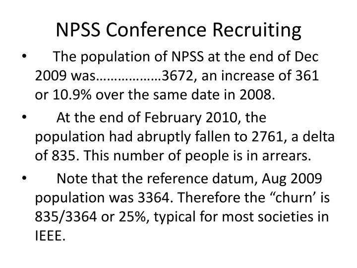 NPSS Conference Recruiting