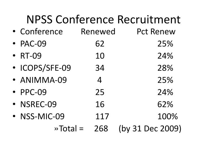NPSS Conference Recruitment