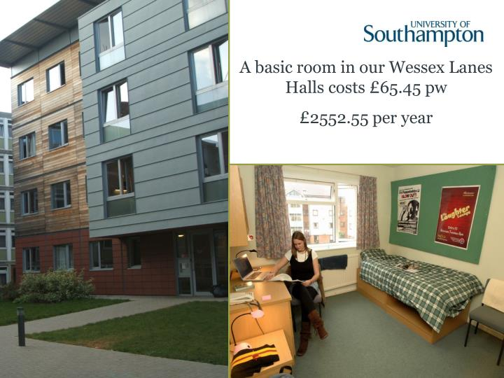 A basic room in our Wessex Lanes Halls costs £65.45 pw