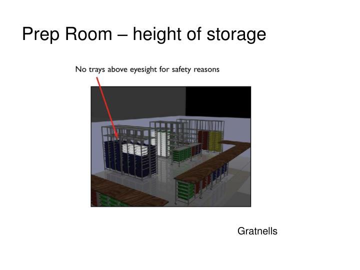 Prep Room – height of storage