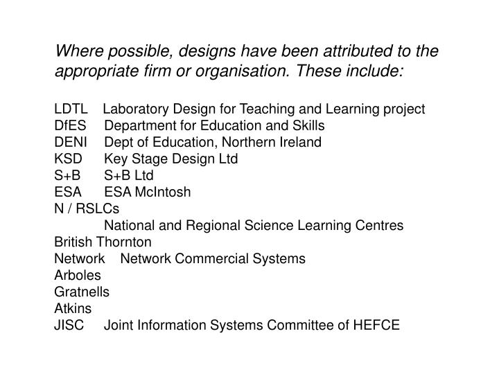 Where possible, designs have been attributed to the appropriate firm or organisation. These include: