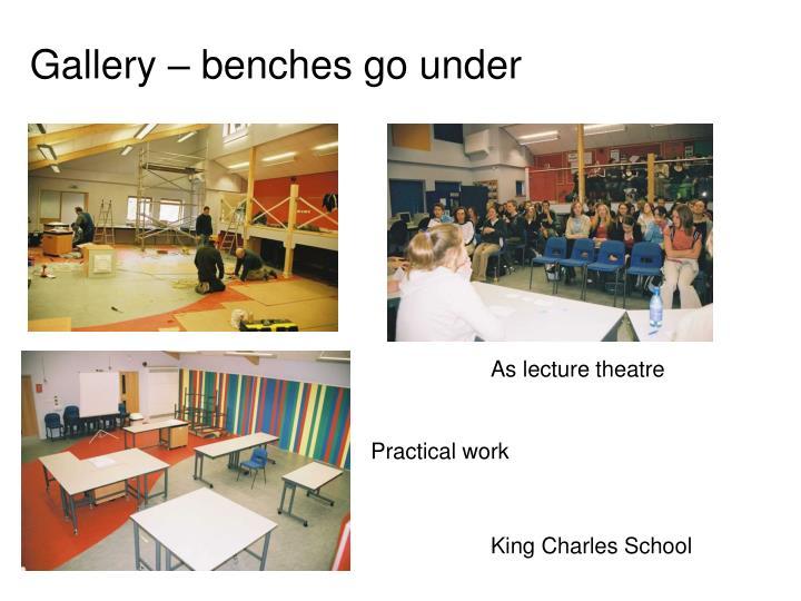 Gallery – benches go under