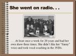 she went on radio