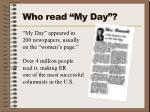 who read my day