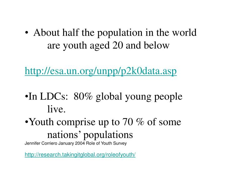 About half the population in the world 	are youth aged 20 and below