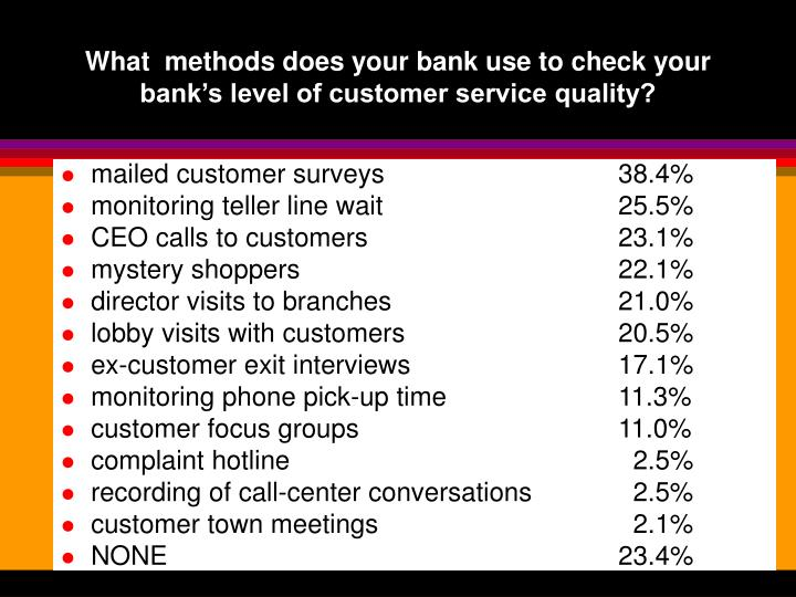 What methods does your bank use to check your bank s level of customer service quality