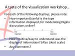 a taste of the visualization workshop