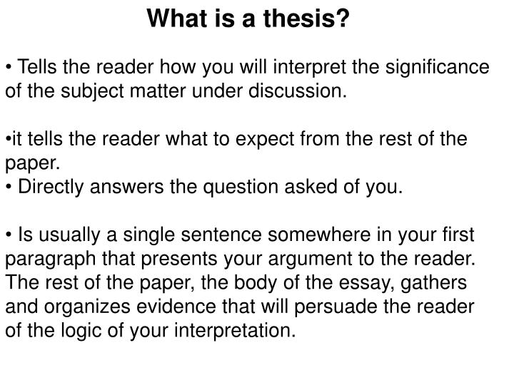 What is a thesis?