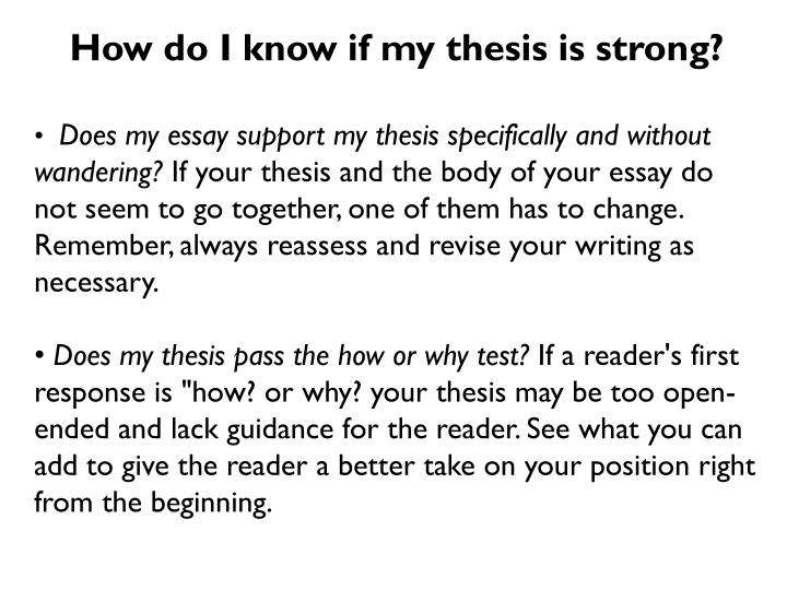 How do I know if my thesis is strong?