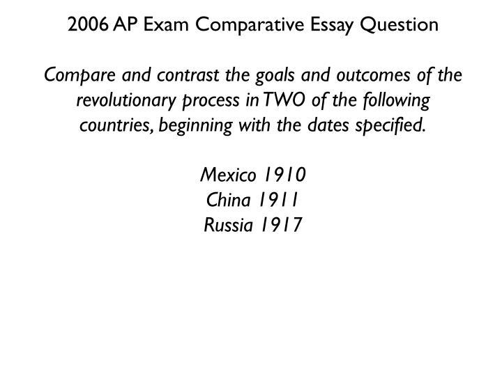 2006 AP Exam Comparative Essay Question