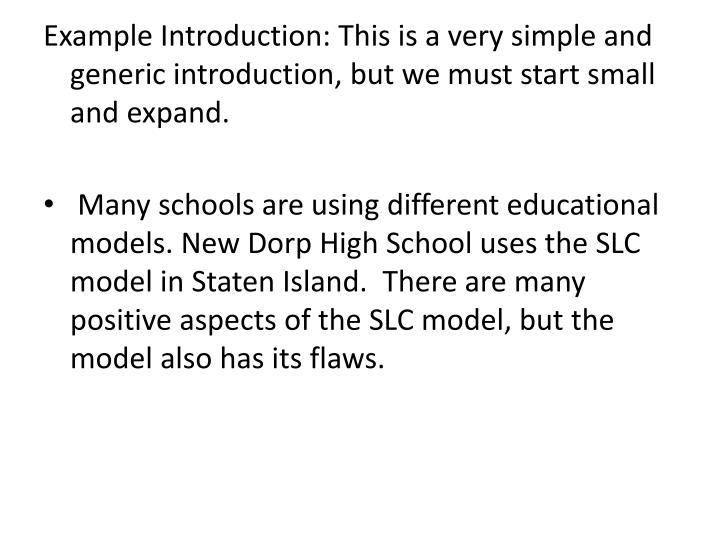 Example Introduction: This is a very simple and generic introduction, but we must start small and ex...