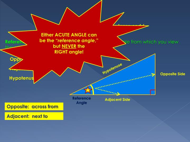 """Either ACUTE ANGLE can be the """""""