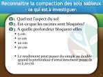 reconnaitre la compaction des sols sableux ce qui est investiguer