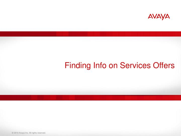 Finding Info on Services Offers