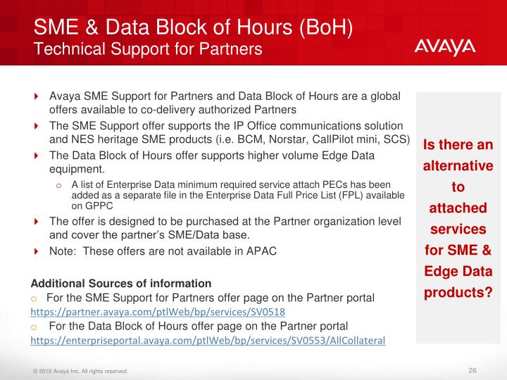 SME & Data Block of Hours (BoH)