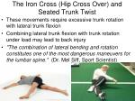 the iron cross hip cross over and seated trunk twist