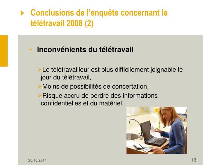 Conclusions de l'enquête concernant le télétravail 2008 (2)