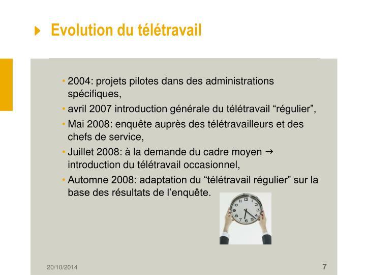 Evolution du télétravail