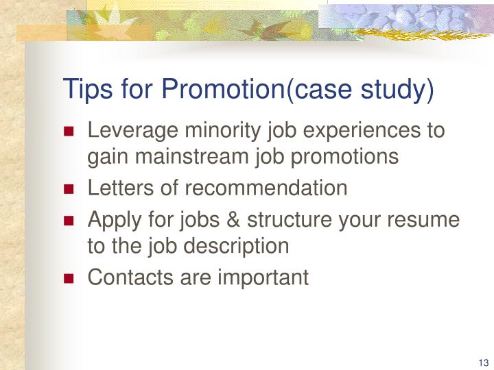 Tips for Promotion(case study)