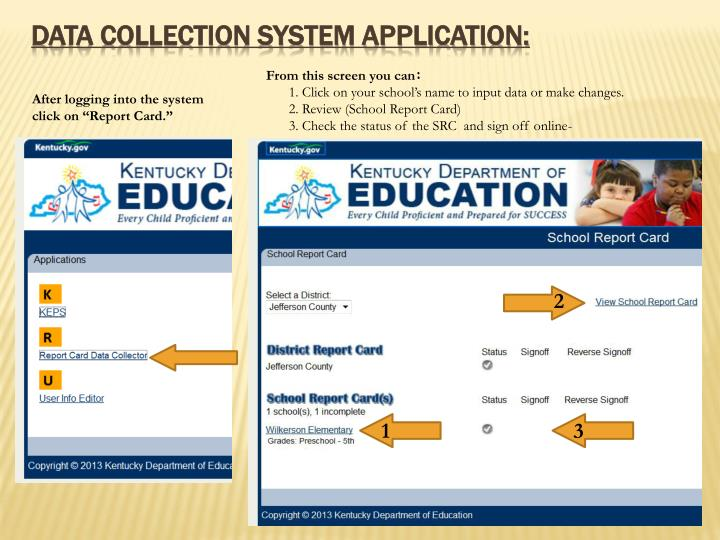 Data collection system application: