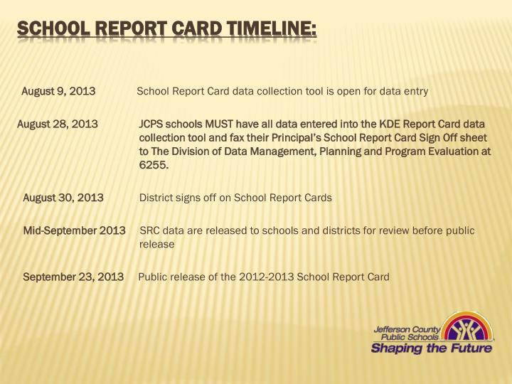School Report Card Timeline:
