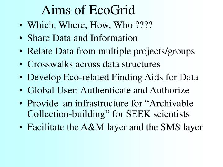 Aims of ecogrid