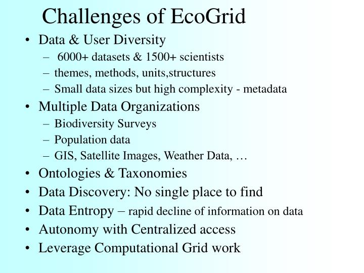 Challenges of EcoGrid